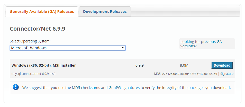 Descarga del conector para MySQL